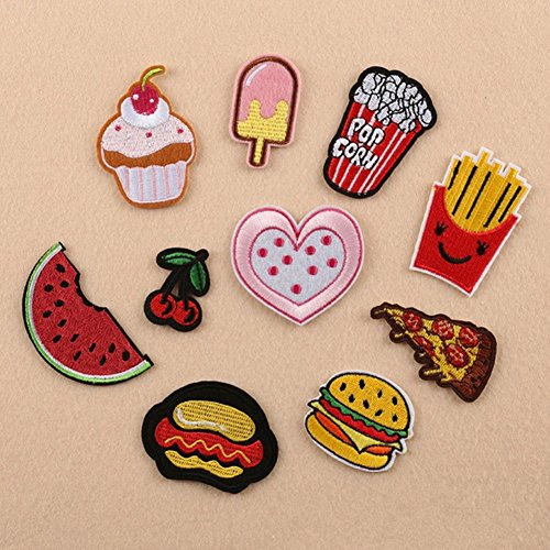 (dezirZJjx Clothes Patch,10Pcs Cherry Hamburger Embroidered Iron on Patch Clothes Applique Sticker Badge)