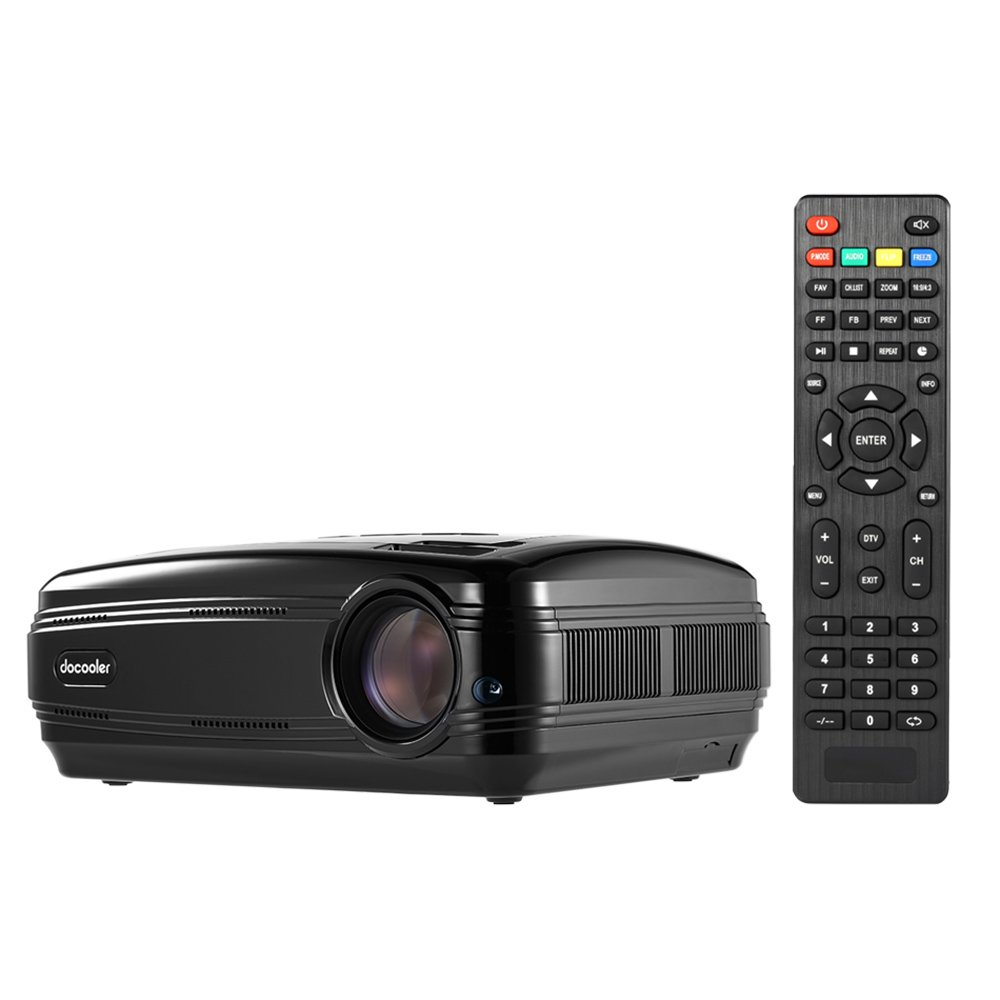Docooler BL-58 LED LCD Projector 1080P 3200 ANSI Lumens Max 200'' Home Theater Video Projector 1280 768 Pixel 3000:1 Contrast Ratio with HD IN VGA AV USB TV Remote Controller US Plug