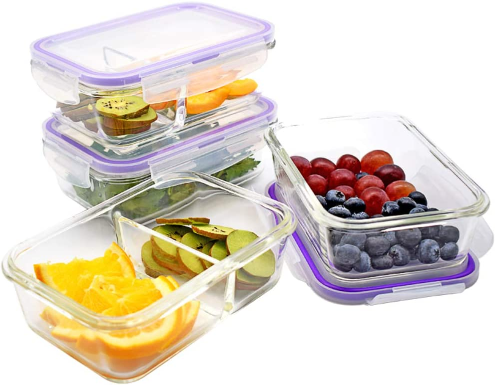 Glass Food Storage Containers w/Airtight Lids, 4-Pack, 28oz Each Container, [BPA FREE] Safe-to-Use: Microwave, Fridge, Freezer, Dishwasher, Oven