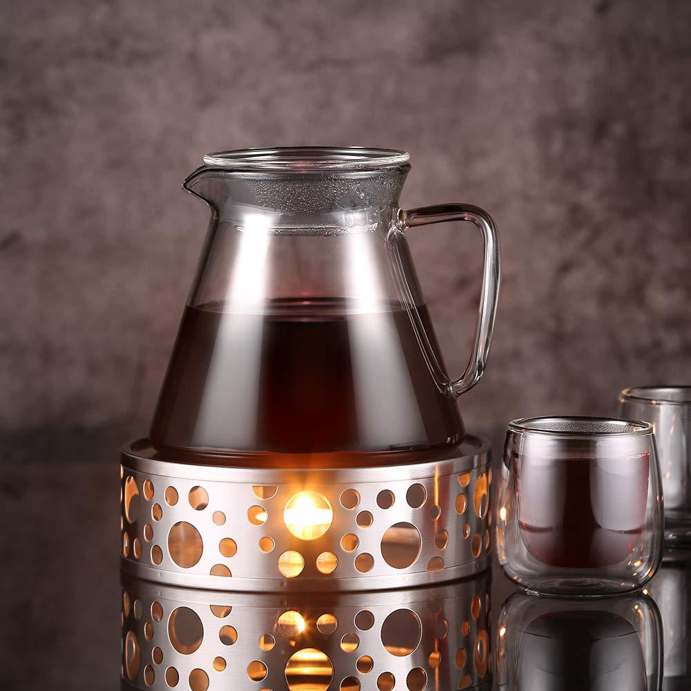 MEHRWEG Glastal St/övchen Teew/ärmer Kaffeew/ärmer aus Edelstahl mit Teelichthalter,Teelicht und Teekanne ist Nicht enthalten