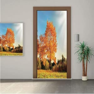 AngelSept Scenery Decor Premium Stickers for Door/Wall/Fridge Home DecorAutumn Sight with Pale Falling Leaves in Park Foliage Nature Season Concept 18x80 ONE Piece Sticky Mural,Decal,Cover,Skin
