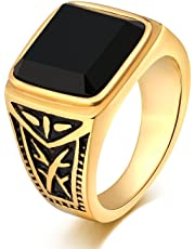 Epinki Stainless Steel for Men Engagement Ring Square Black Cubic Zirconia Totem 15MM Ring