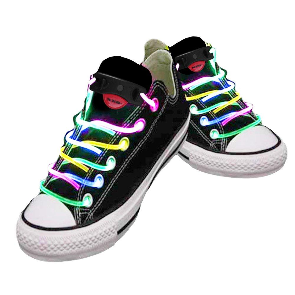 NEO+ Lames DE Chaussures LED DE DIFFÉRENTES Couleurs: Vert, Rouge, Jaune, Orange, Bleu, Rose, Jaune / Vert, Bleu / Rose, Vert / Rose, Multi Couleur (Multi Couleur)