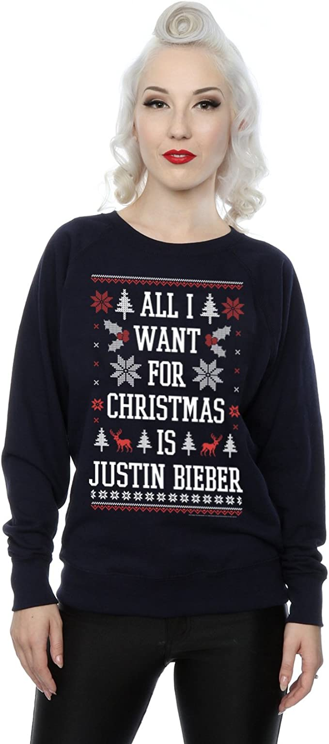 Justin Bieber mujer All I Want For Christmas Camisa de entrenamiento