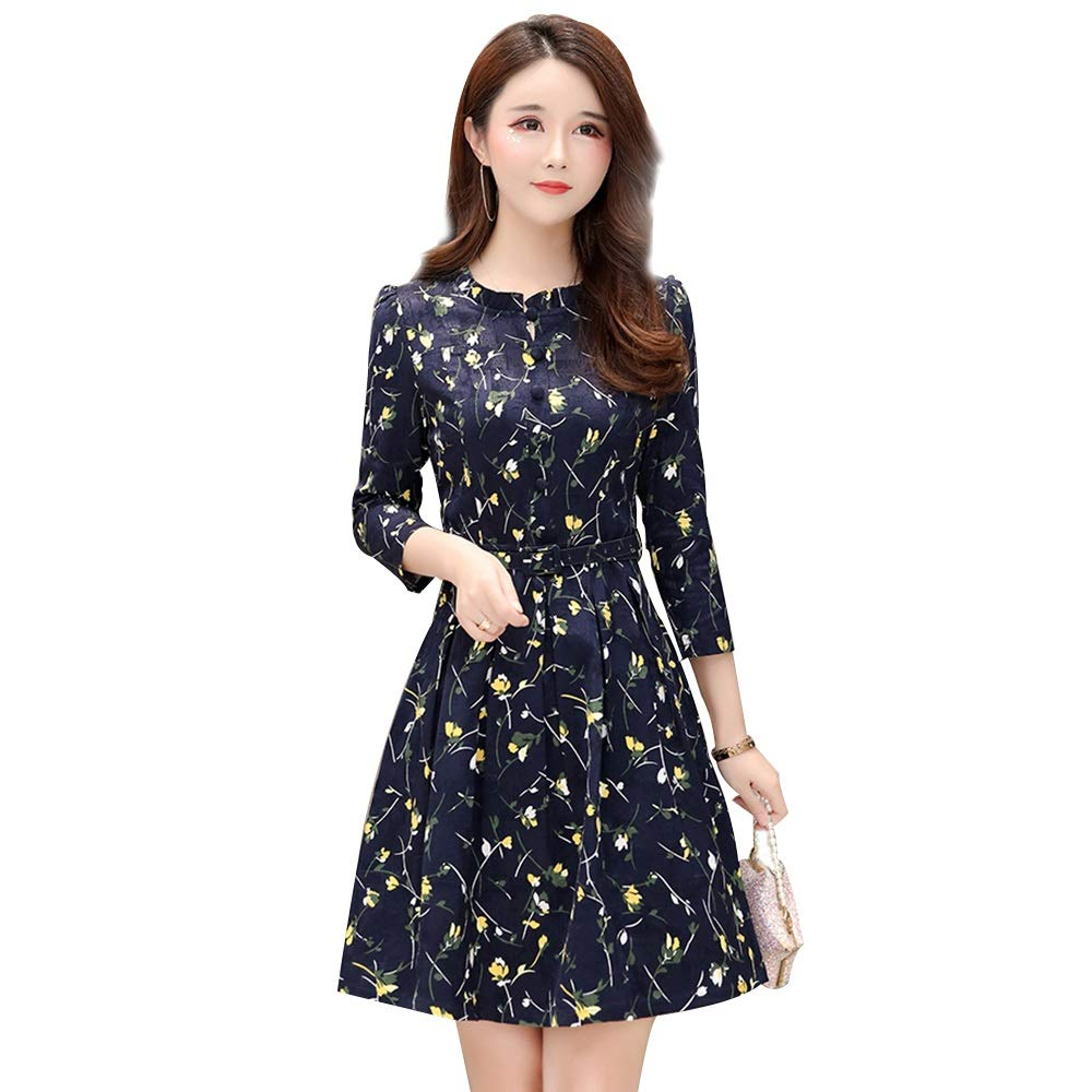 B Dress, MidLength Sleeve Popular A Word VNeck Temperament Spring Autumn Dress (color   A, Size   XL)