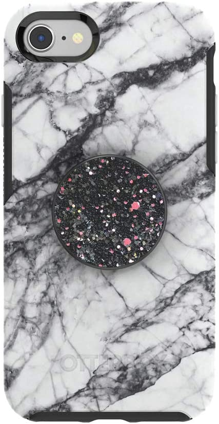 Otter + Pop for iPhone SE, 7 and 8: OtterBox Symmetry Series Case with PopSockets Swappable PopTop - White Marble and Sparkle Black