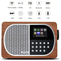 LEMEGA M2+ Portable Rechargeable Battery Wi-Fi Internet Radio With Spotify, Bluetooth, DLNA, DAB, DAB+, FM Radio, Clock, Alarms, Presets, And Wireless App Control - Walnut