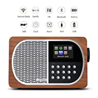 LEMEGA M2+ Portable Smart Radio Rechargeable Battery And Wireless Speaker With Wi-Fi, Internet Radio, Spotify, Bluetooth, DLNA, DAB, DAB+, FM Radio, Clock, Alarms, Presets, And Wireless App Control - Walnut