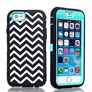 """iPhone 6 Plus Case(5.5""""),Hybrid Layer Long Lifetime Armor Shockproof Case-Black White Waves Soft Silicone Defender Back+Front Sky Blue Internal Full Body Bumper Box Case Cover For iPhone 6 Plus 5.5 Inch"""