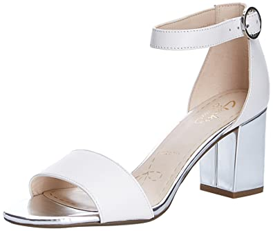 4eb176f3388 Clarks Womens Susie Deva Leather Sandals In White Silver Wide Fit Size 9  28C08