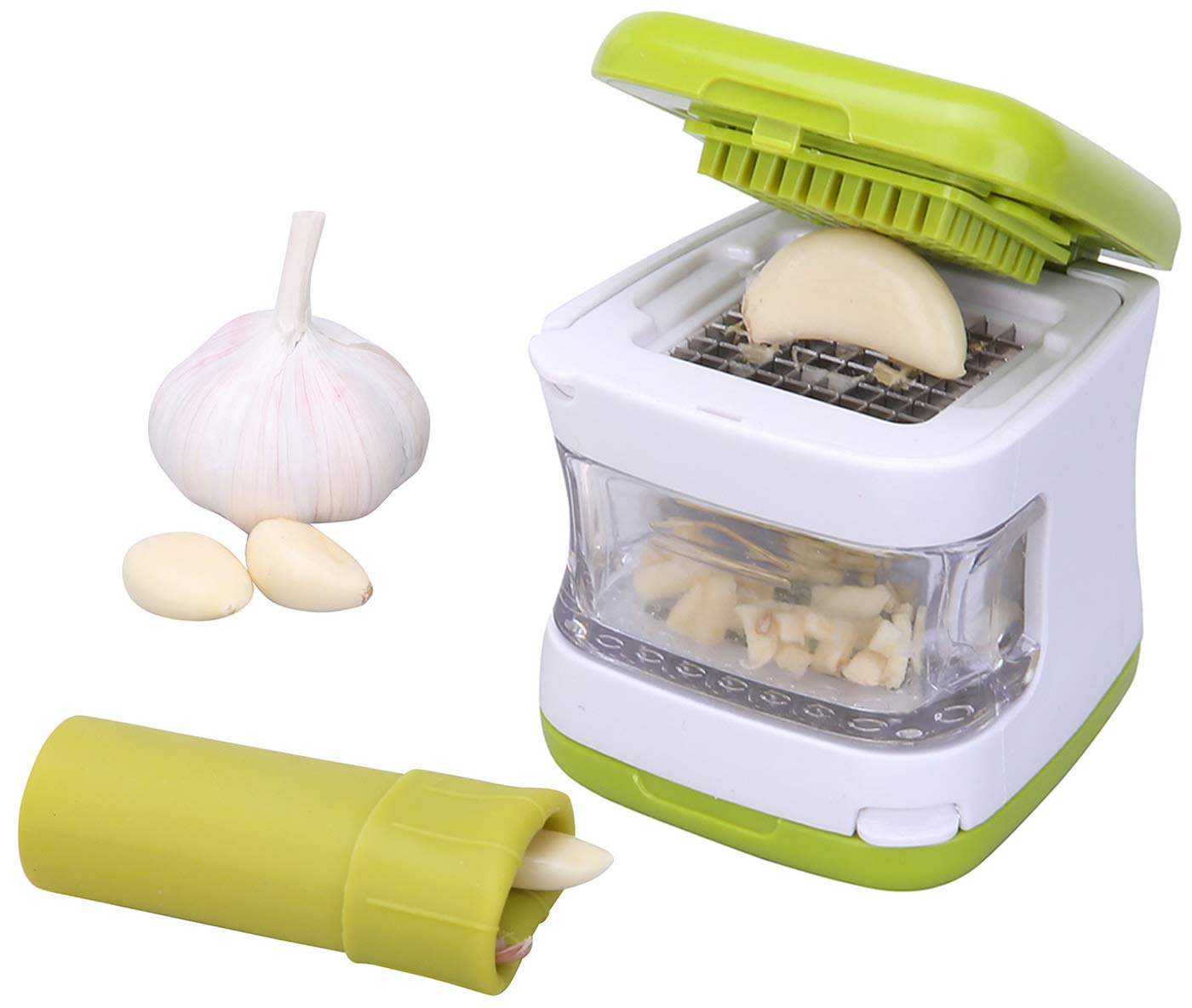 Garlic Peeler and Garlic Press Set, Silicone Garlic Peeler with Stay-Clean Storage Case, Stainless Steel Garlic Presser, Easy to Clean, Green, Practical Kitchen Utensil.