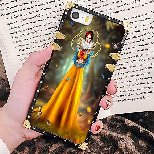 DISNEY COLLECTION Square Cover Case Fit iPhone 5 & SE & 5S [5.5-Inch] Snow White Oil Painting Wallpaper (Best Wallpaper For Iphone 5 White)