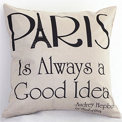 NEW BARLEY Letter Design Throw Pillow Cover Pillow Case 18 x 18 Inch Cotton Linen for Sofa (Paris) (Plain Decorative Pillow Cases)