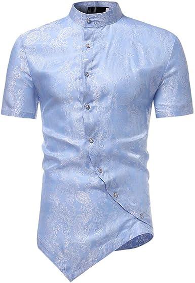 waotier Camisetas De Manga Corta para Hombre Camisa con Cuello De Manga Corta Y Bajo Irregular Ropa Hombre Verano