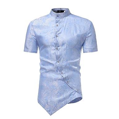 Bestow Camisa de Manga Corta con Cuello Alto y diseño ...