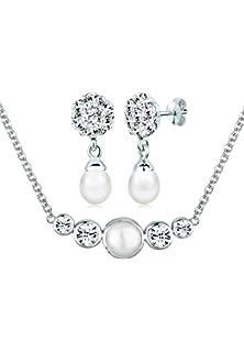 Brautschmuck set swarovski  PERLU Damen Schmuck Schmuckset Halskette + Ohrringe Perle ...