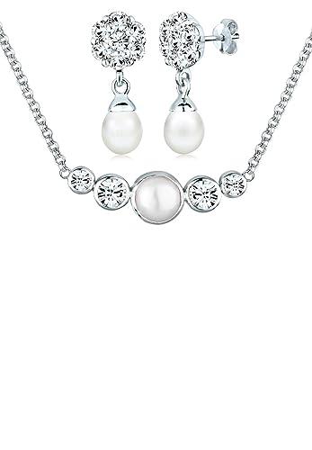 Brautschmuck swarovski kristallen  PERLU Damen Schmuck Schmuckset Halskette + Ohrringe Basic Glamour ...