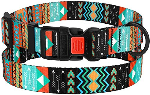 Image of CollarDirect Nylon Dog Collar with Buckle Tribal Pattern Puppy Adjustable Collars for Dogs Small Medium Large (Pattern 2, Neck Fit 10
