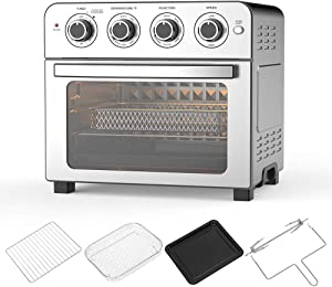 Air Fryer Oven Toaster Oven – 6 in 1 Combo, Convection Roaster with Rotisserie & Dehydrator, 24 QT 1700W for Large Family, Original Recipe and Accessories Included, FDA Stainless Steel. (Silver 24QT 1700W)