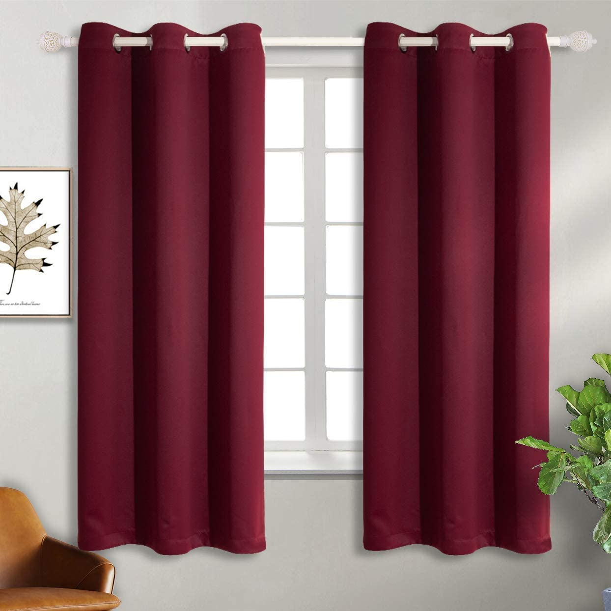 BGment Burgundy Blackout Curtains for Bedroom - Grommet Thermal Insulated Room Darkening Curtains for Living Room, Set of 2 Panels (42 x 63 Inch, Dark Red)