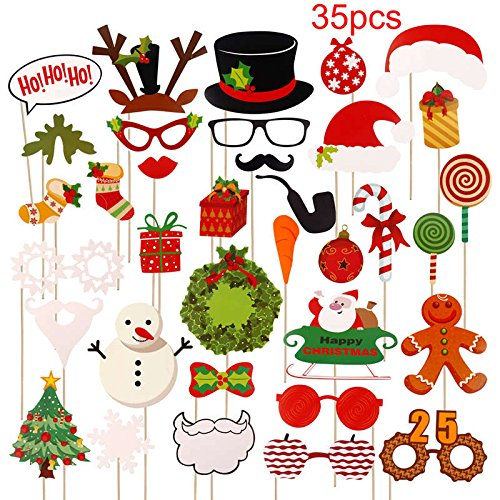 StrongLife Pendant & Drop Ornaments - Paper Christmas Hat Funny Moustache Party Photography Props Christmas Decoration Photo Props Photocall 1 PCs]()