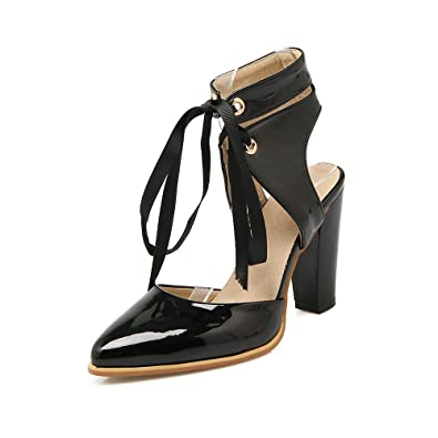 5d02101756c Fashion Block Heel Sandals Ankle Strap Slingback Closed Toe Lace up Shoes  Pointed Toe High Heel