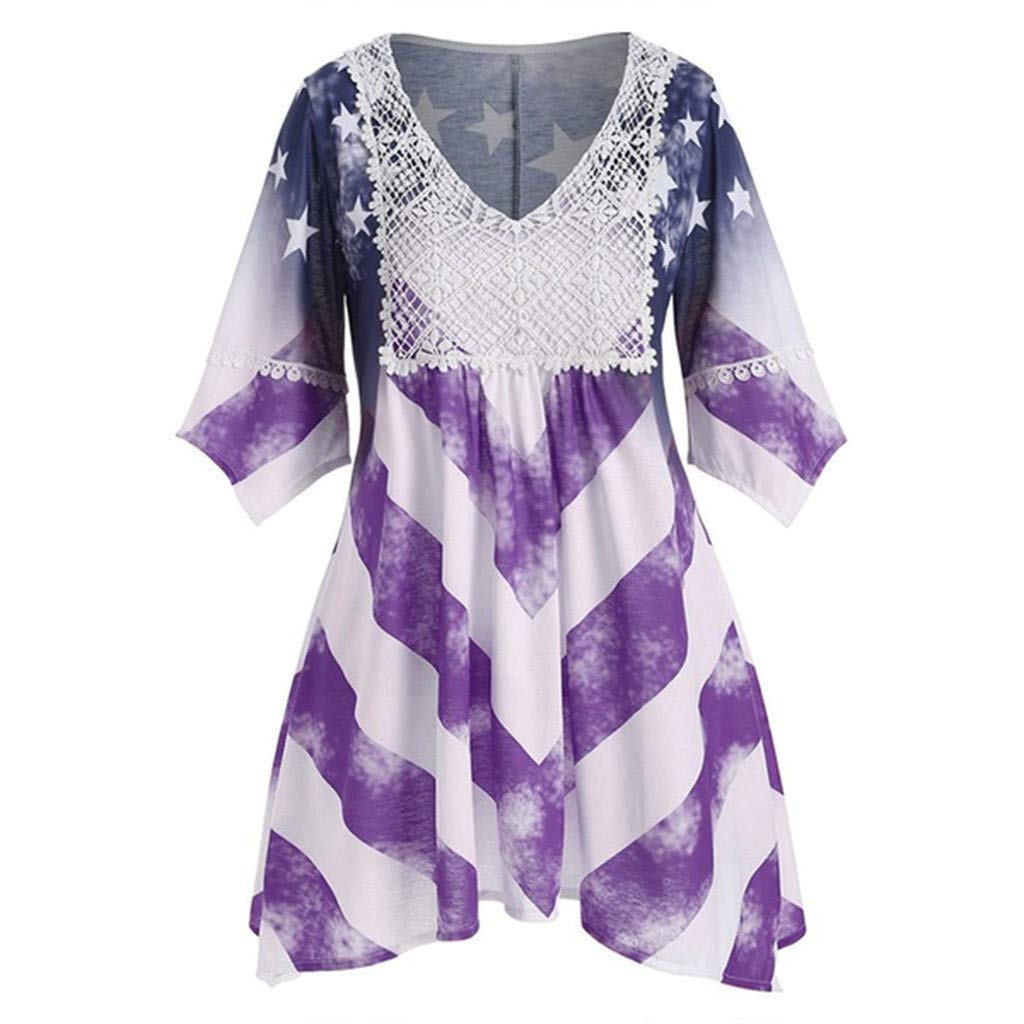 ZOMUSAR Women Flare Sleeve V-Neck National Flag Print Irregular Hem Beach Casual Dress for Ladies Purple