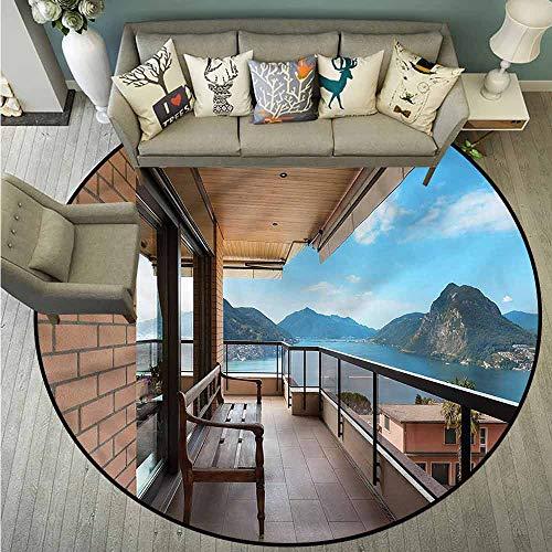 Skid-Resistant Rugs,Modern,Lugano Lake Panoramic View,Anti-Slip Doormat Footpad Machine Washable,4'11