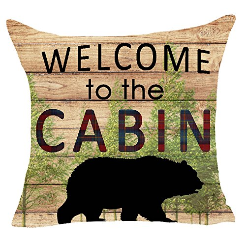 (FELENIW Retro Wooden Bear Cabin Throw Pillow Cover Cushion Case Cotton Linen Material Decorative 18