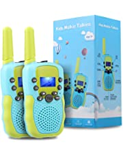 TekHome Walkie Talkie Kids, 2 Pcs Two Way Radio Long Distance, Boys Toys Age 4-5, Baby Boy Girl Gifts for 3-12 Year Olds, PMR 446MHz 22 Channels Walky Talky for Hiking Camping Hunting, Blue&Green.