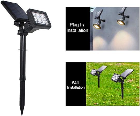 Galapara Luces Exterior Solar, Foco Solar LED, Lámpara Solar Jardín Ahorro de energía portátil Doble rotación 6 Leds de luz de césped para Jardín, Patio, Garaje y Terraza: Amazon.es: Hogar