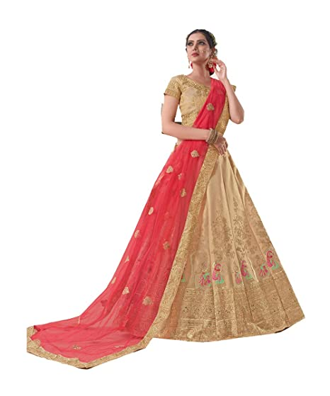 6e76411afd Indian Women Designer Partywear Ethnic Traditional Beige Lehenga Choli.:  Amazon.co.uk: Clothing