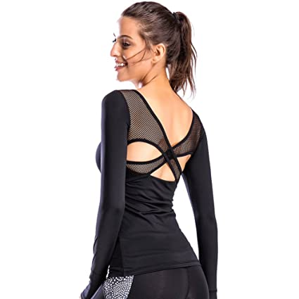c292e8c97b Move With You Women s Workout Yoga Long Sleeve Top Slim Mesh Open Back Cross  Sports Shirt