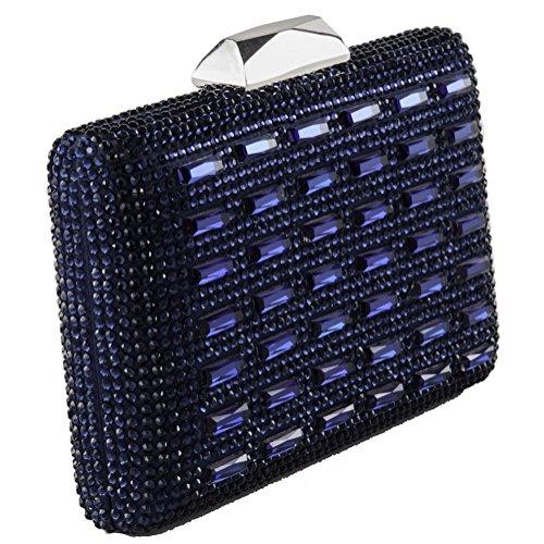 Borsa clutch, Vale blu, in raso e cristalli