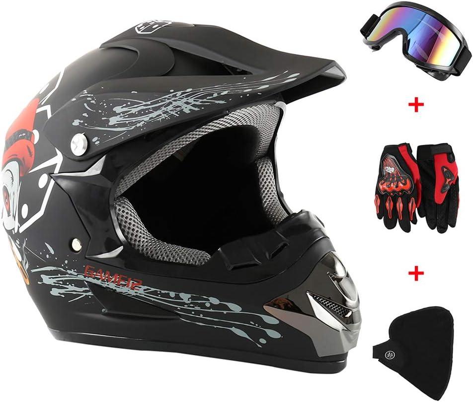 Dightyoho Casco para Motocross, 4pcs Juego de Casco de Moto + Gafas + Guantes de Motocicleta + Mascarilla, para Hombre Mujer, XL 58-59CM (Cráneo)
