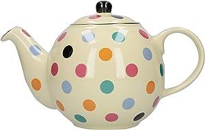 London Pottery Globe - Lunares con colador, cerámica, marfil / mancha múltiple, capacidad para 6 tazas (1,2 litros)