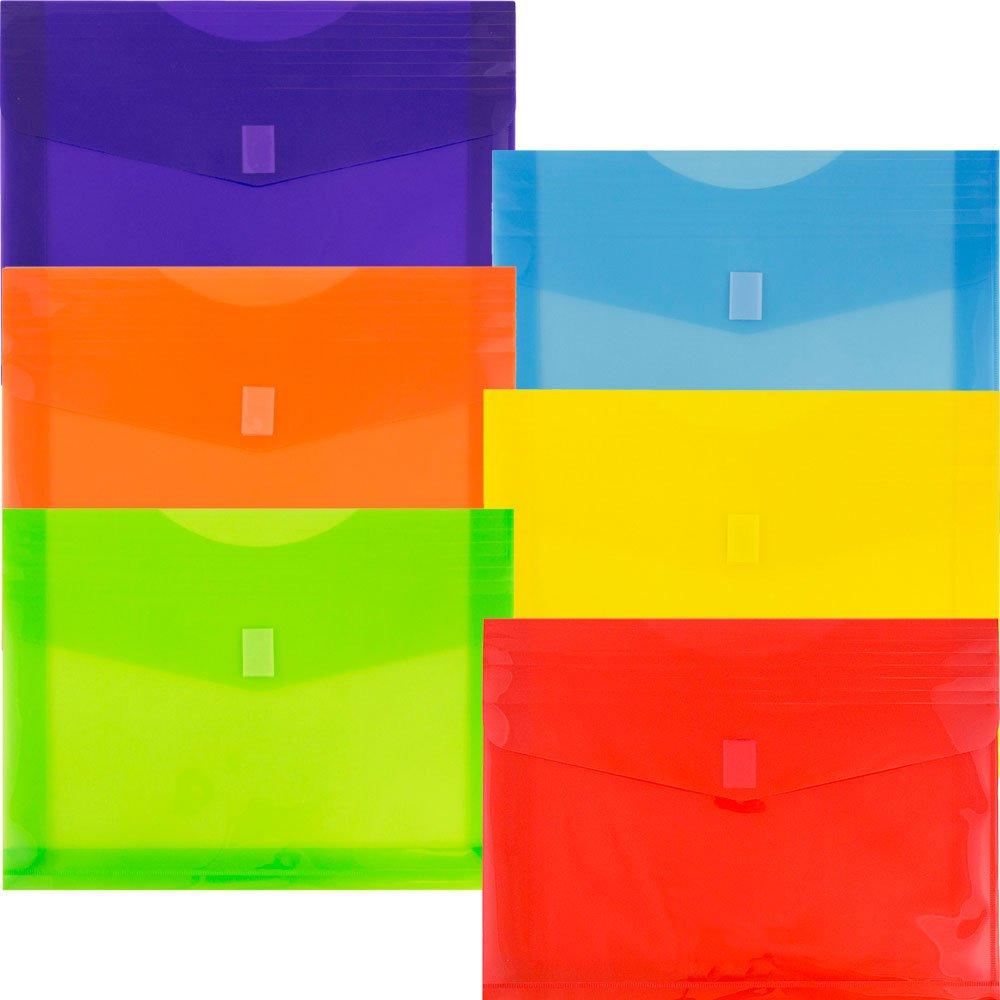 JAM Paper Plastic Envelopes with Hook and Loop Closure - 2'' Expansion - Letter Booklet - 9 3/4'' x 13'' - Assorted Colors - 6/pack