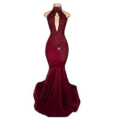 a46fa995ab2f BridalAffair Sexy Halter Mermaid Prom Dresses 2019 Long Lace Appliques Evening  Dress Burgundy