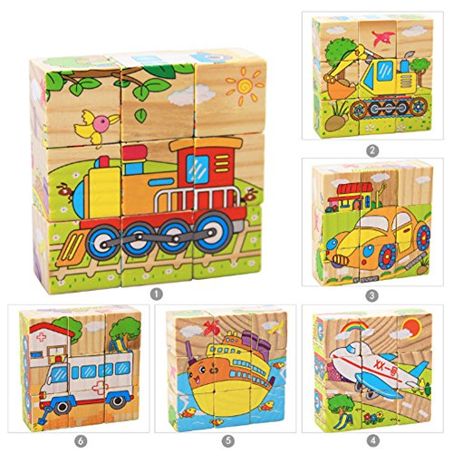 Cartoon 6 Sides Puzzle Blocks Colorful Educational Wooden Kids Boy Girl Toy Gift