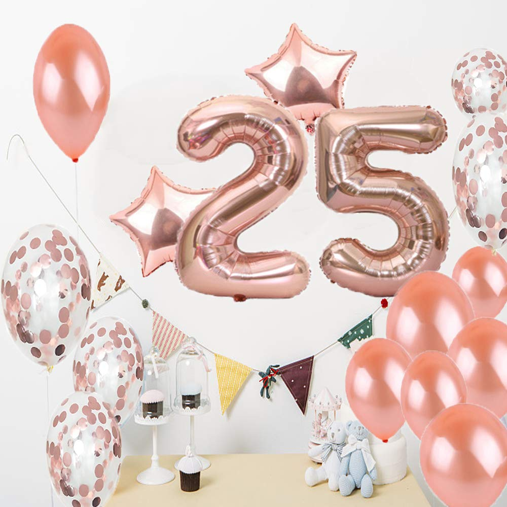 25th Birthday Decorations Party Supplies Balloons Rose Gold Number 25 Mylar Balloon