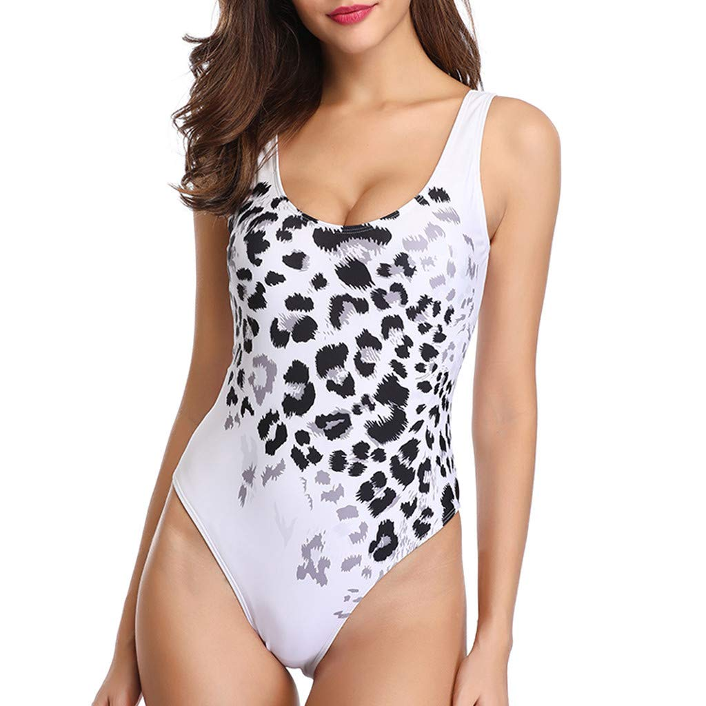 Severkill Women Vintage One Piece Padded Swimsuit Monokini Leopard Ruched Tummy Control Bathing Suit