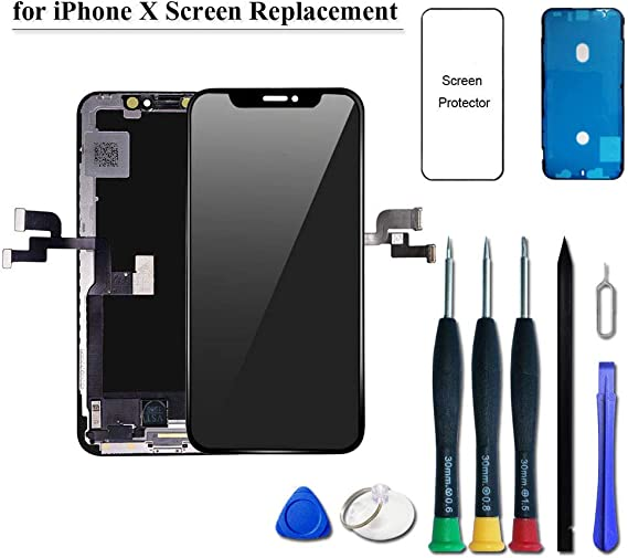 Display 3D Touch Digitizer Frame Assembly Full Repair Kit with Repair Tools NOT LCD YPLANG Screen Replacement Compatible for iPhone X Screen Replacement Black OLED