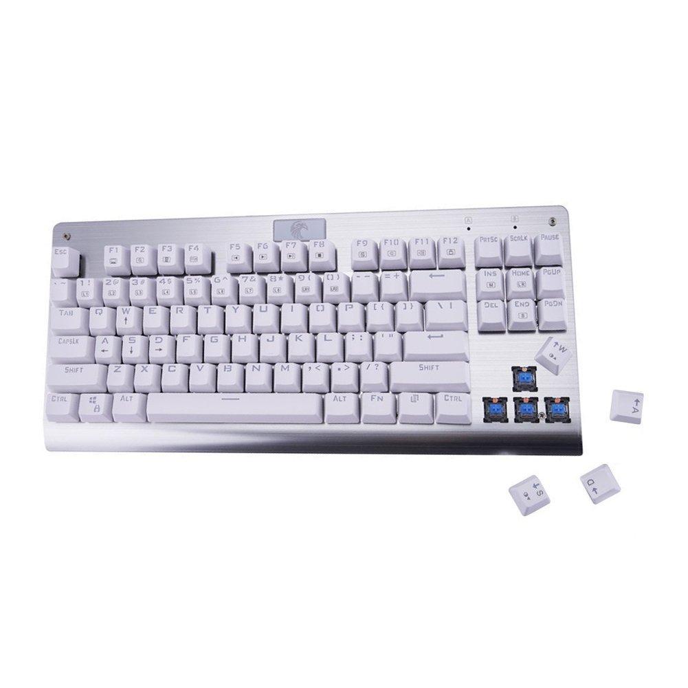 Kasit Teclado mecánico para Juegos de pc con interruptores de Color Azul, White Backlit: Amazon.es: Electrónica