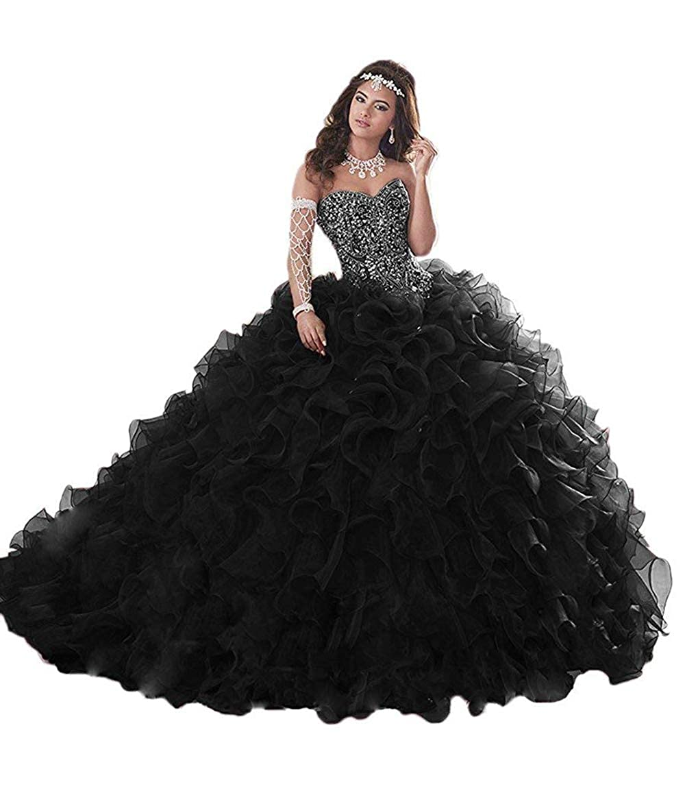 Black Wanshqin Women's Heavy Beaded Organza Ruffle Quinceanera Dresses Sweetheart Prom Ball Gowns