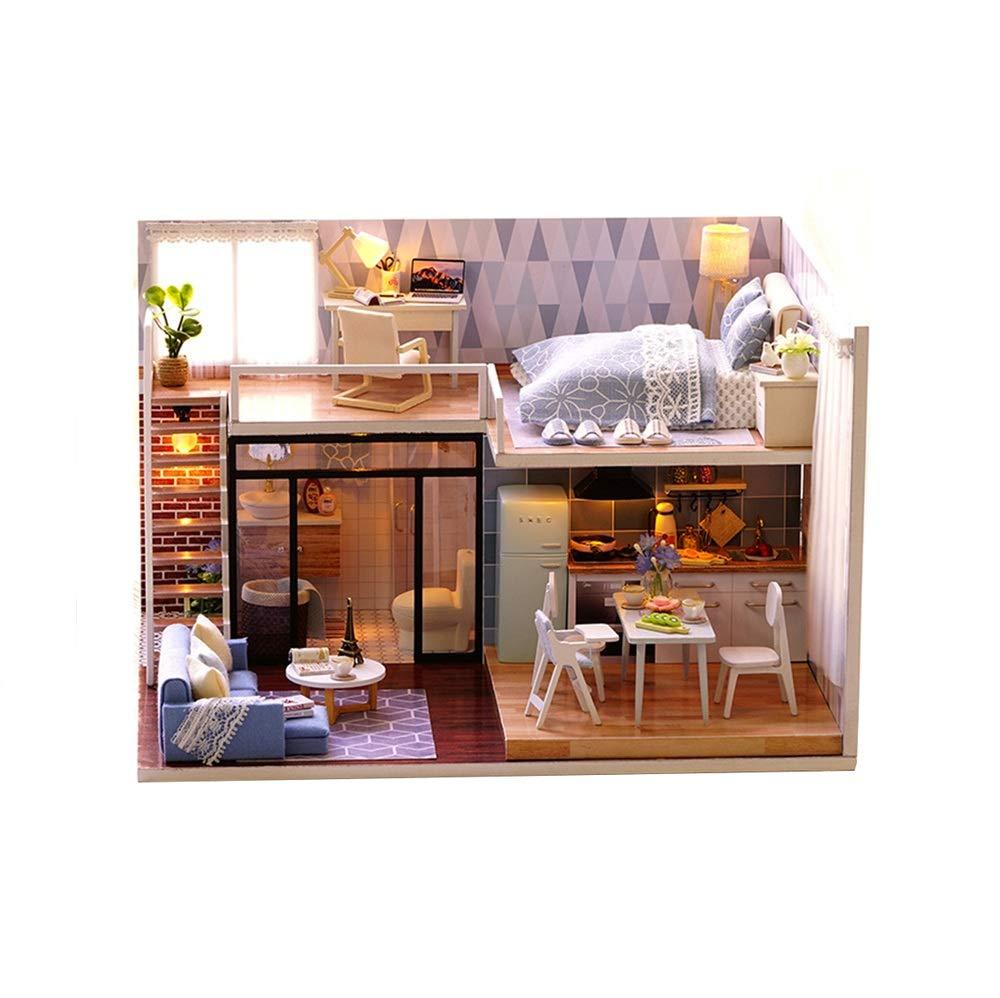 Giocattoli per lo sviluppo dell'apprendimento prec Puzzle 3D Handmade Casa delle bambole in miniatura Kit fai da te  Light blu Time  Storia della lavanda Case delle bambole Accessori Case delle bambo