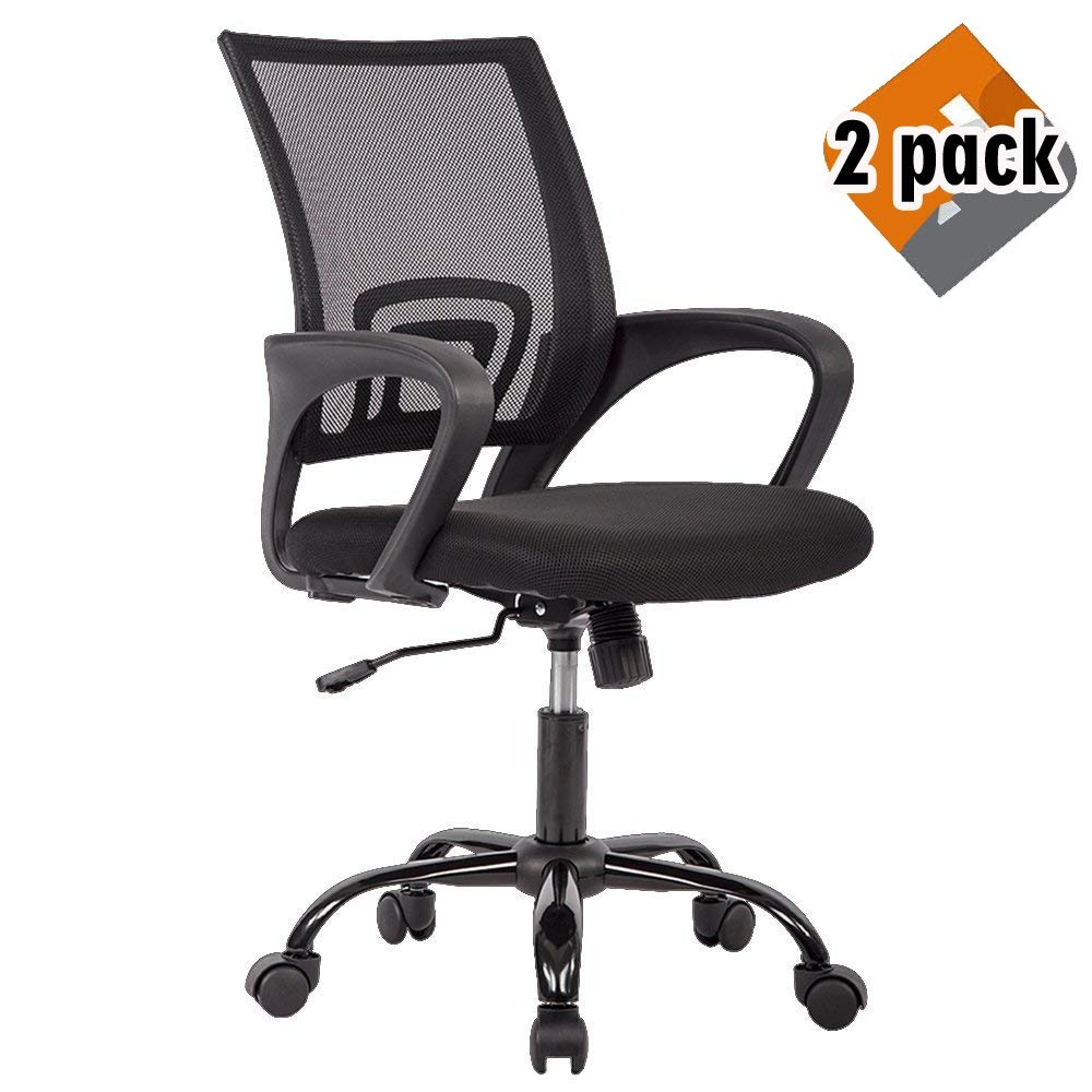 BestOffice Chair Desk Ergonomic Swivel Executive Adjustable Task MidBack Computer Stool with Arm in Home-Office Mesh Black (2pcs) by BestOffice (Image #1)