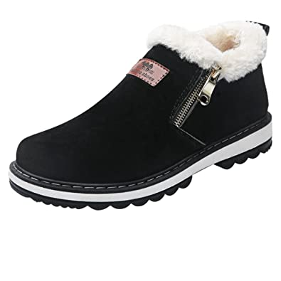 Men's High Top Snow Boots Zipper Closed Fur Lined Suede Winter Shoes