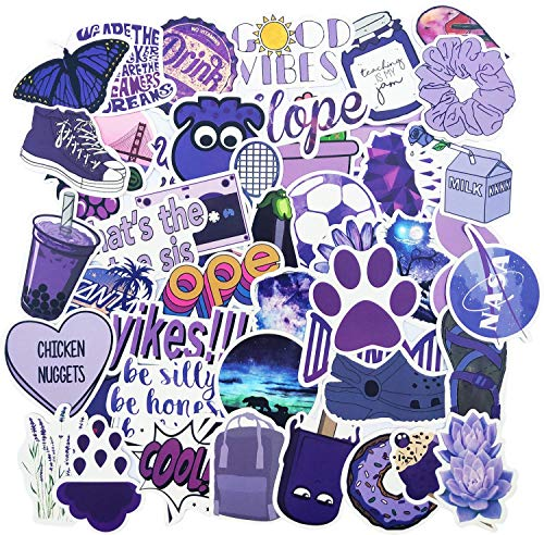 Purple Vsco Stickers for Water Bottle, Big 50-Pack, Waterproof Trendy Aesthetic Vinyl Outdoor Black Stickers Pack for Teens, Perfect for Laptop, Hydro Flask, Phone, Luggage, Car