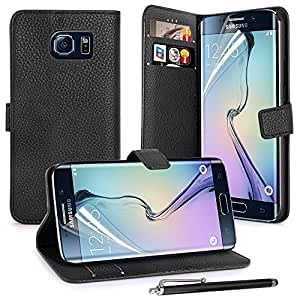 Shelfone ® REAL - PREMIUM PU LEATHER GRAIN FLIP CASE POUCH COVER CARD HOLDER WALLET FOR SAMSUNG GALAXY S6 EDGE + Includes STYLUS PEN + SCREEN PROTECTOR (SAMSUNG GALAXY S6 EDGE, BLACK), [Importado de UK]