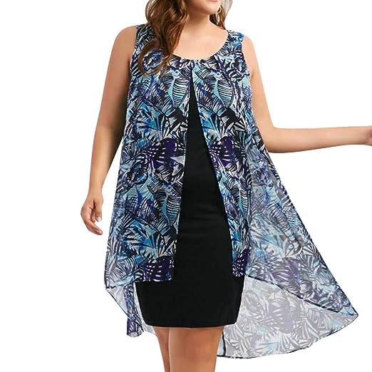 7e302ee6e05 S-5XL Woman Summer Chiffon Boho Dresses Plus Size Loose Sleeveless Print  Dresses Casual Retro